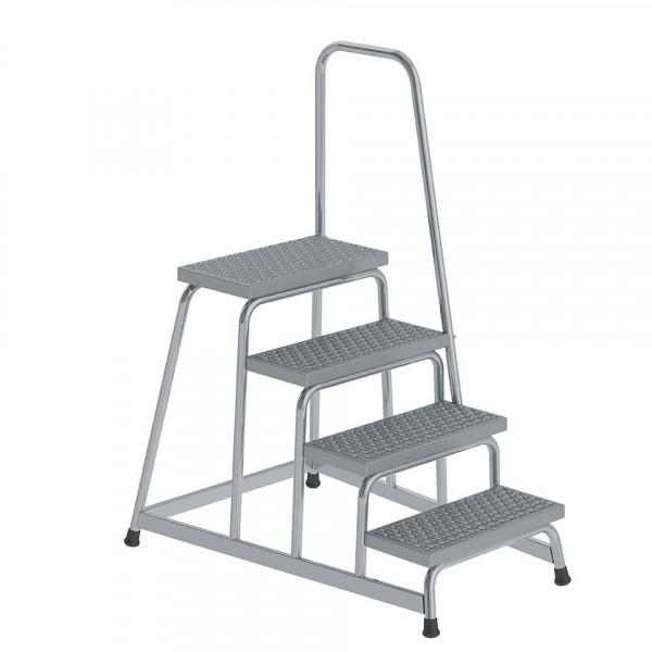 Aluminium-Arbeitspodest R13 Rutschhemmung, starr mit Handlauf, 4 Stufen