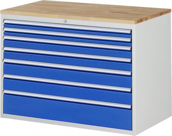 Schubladenschrank mit 7 Schubladen Größe XXL und Buche-Top B 1145 x T 650 x H 825 mm