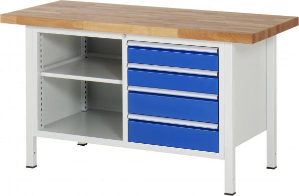 Werkbank B 1500 x T 700 x H 840 mm mit 4 Schubladen Größe L  und 1 Fachboden