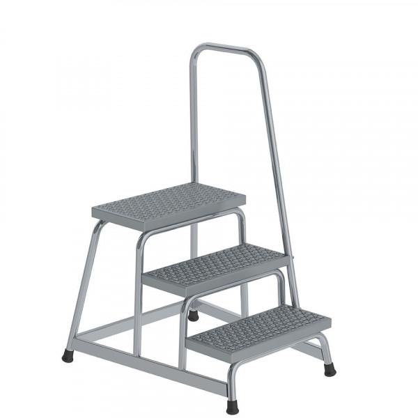 Aluminium-Arbeitspodest R13 Rutschhemmung, starr mit Handlauf, 3 Stufen