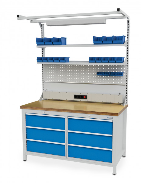 Kastenwerkbank B 1500 x T 750 x H 859 mm mit 6 Schubladen