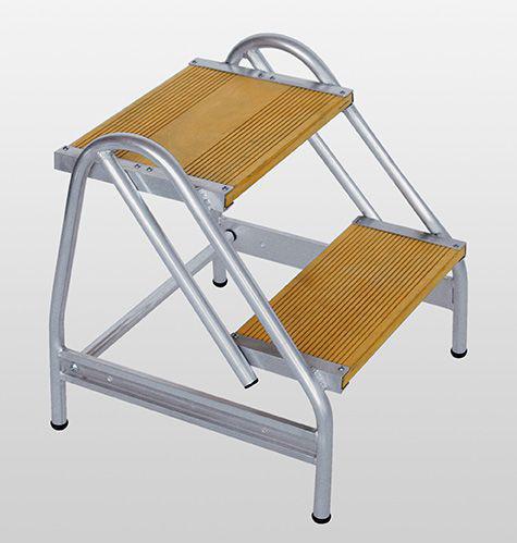 Alu-Arbeitspodest einseitig begehbar, 2 Stufen Holz