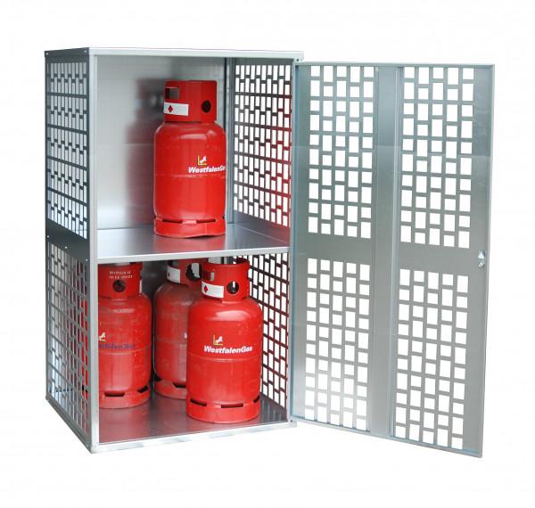 Gasflaschen-Depot Typ GFD-L 1  gelochte Tür und Seitenwände für 10 Gasflaschen