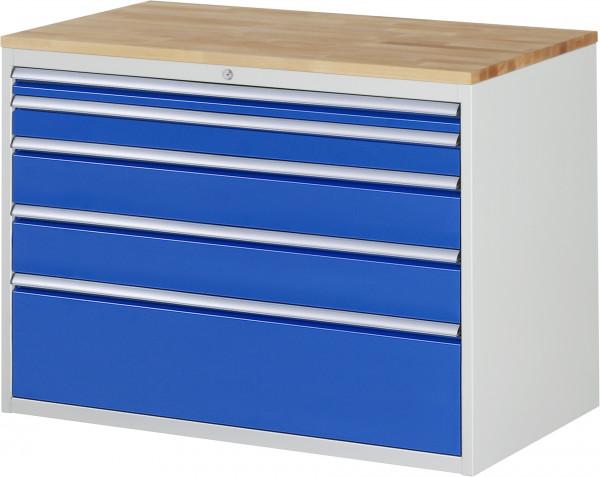 Schubladenschrank mit 5 Schubladen und Buche-Top B 1145 x T 650 x H 825 mm