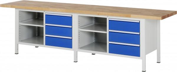 Werkbank B 3000 x T 700 x H 840 mm mit 6 Schubladen und 2 Fachböden