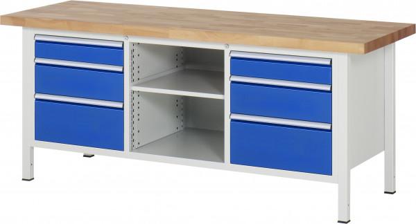 Werkbank B 2000 x T 700 x H 840 mm mit 6 Schubladen und 1 Fachboden