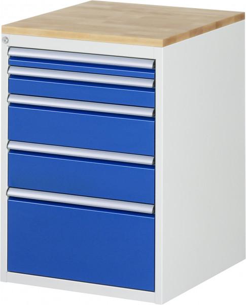 Schubladenschrank mit 5 Schubladen und Buche-Top B 580 x T 650 x H 825 mm