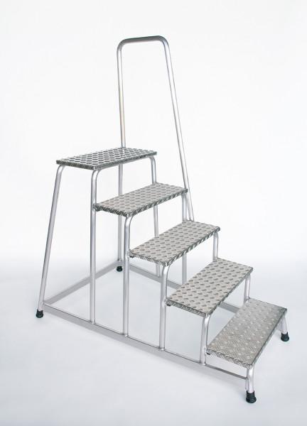 Aluminium-Arbeitspodest starr mit Handlauf, 5 Stufen