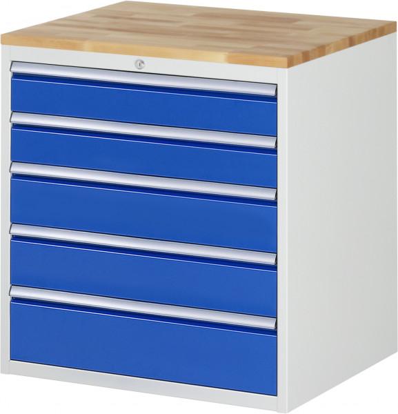 Schubladenschrank mit 5 Schubladen und Buche-Top B 770 x T 650 x H 825 mm