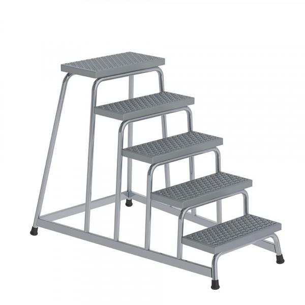 Aluminium-Arbeitspodest R13 Rutschhemmung, starr mit 5 Stufen