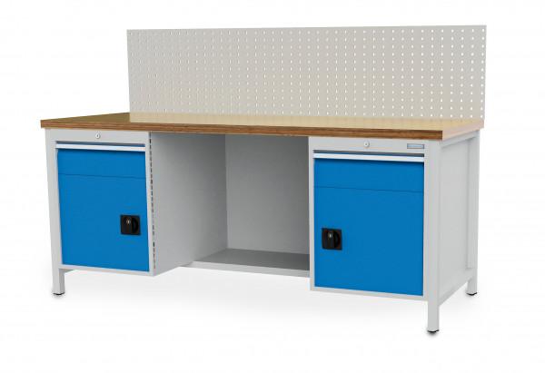 Kastenwerkbank B 2000 x T 750 x H 859 mm, 2 Schubladen und Türen, 1 Fachboden halbe Tiefe