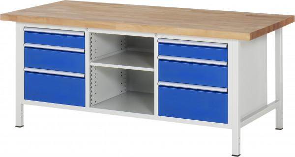 RAU Werkbank B 2000 x T 900 x H 840 mm mit 6 Schubladen und 1 Fachboden