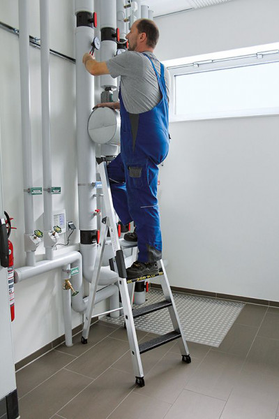 Aluminium-Stehleiter 250 kg einseitig begehbar, 3 Stufen
