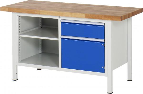Werkbank B 1500 x T 700 x H 840 mm mit 1 Schublade, Flügeltür und Fachboden