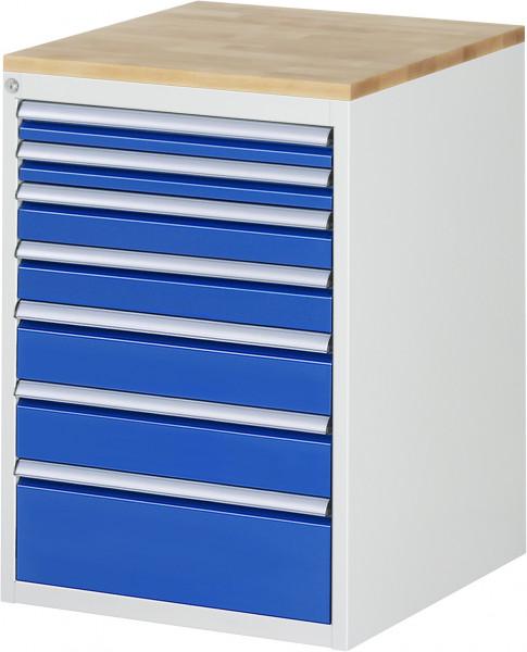 Schubladenschrank mit 7 Schubladen und Buche-Top B 580 x T 650 x H 825 mm