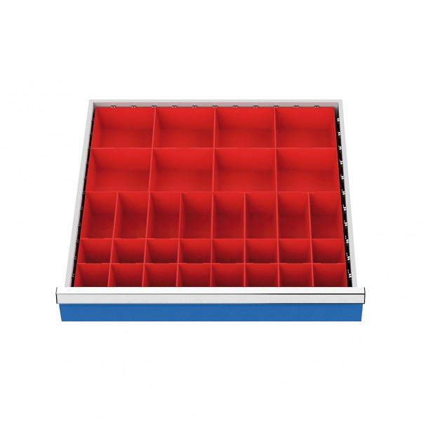 Kleinteilekästen Front 75 - 100 mm für Schubladennutzmaß 600 x 600 mm, Artikel-Nr. 132A