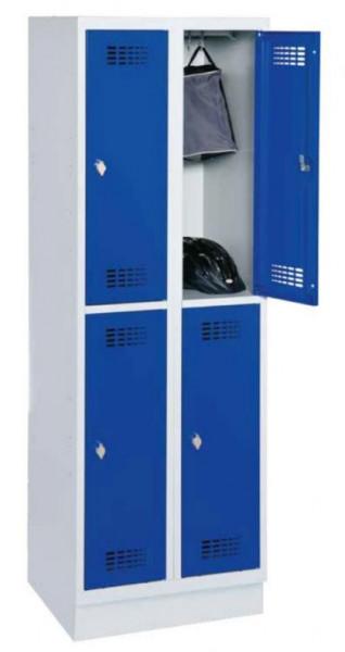 Garderobenschrank mit 2 x 2 Abteilen und Stahlblechsockel H 1800 x B 600 x T 500 mm
