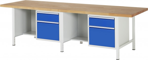 RAU Werkbank B 3000 x T 900 x H 840 mm mit 4 Schubladen und 2 Fächern