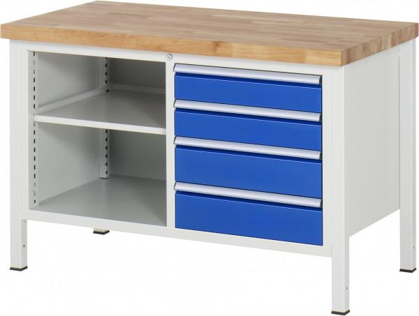 Werkbank B 1250 x T 700 x H 840 mm mit 4 Schubladen und 1 Fachboden