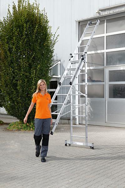 Aluminium-Mehrzweckleiter rollbar mit Traverse, 3 x 12 Sprossen