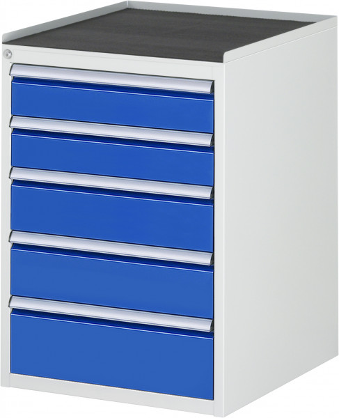 Schubladenschrank mit 5 Schubladen und Metall-Top B 580 x T 650 x H 825 mm
