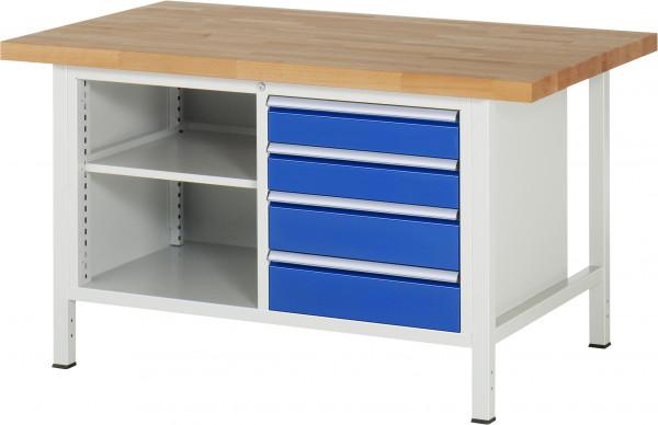 RAU Werkbank B 1500 x T 900 x H 840 mm mit 4 Schubladen und 1 Fachboden