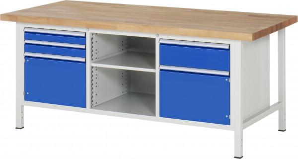 Werkbank B 2000 x T 900 x H 840 mm mit Flügeltüren, Schubladen und Fachboden