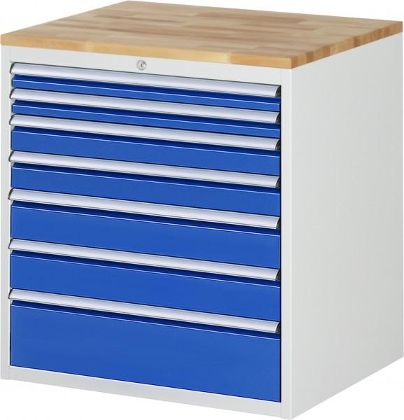 Schubladenschrank mit 7 Schubladen Größe XL und Buche-Top B 770 x T 650 x H 825 mm