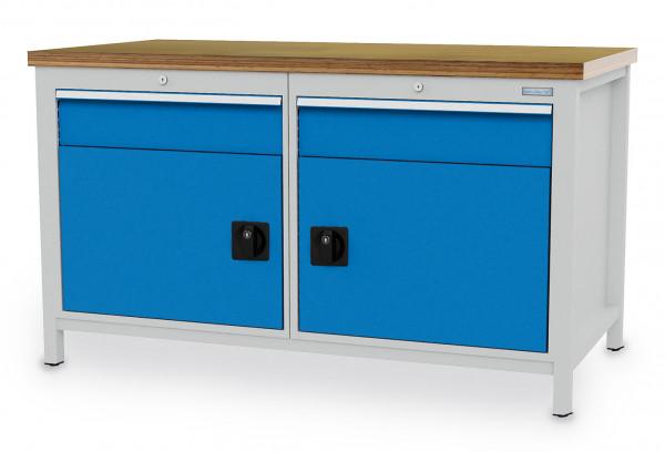 Kastenwerkbank B 1500 x T 750 x H 959 mm, links und rechts je 1 Schublade und Tür