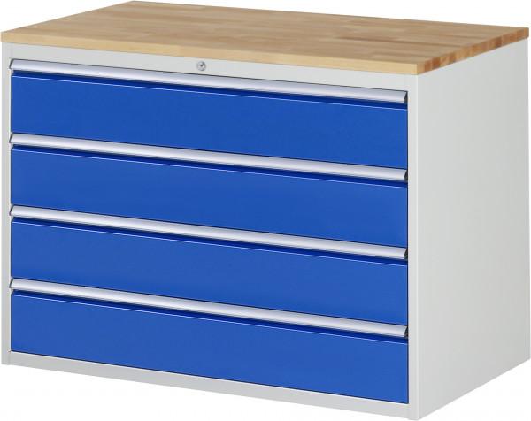 Schubladenschrank mit 4 Schubladen XXL und Buche-Top B 1145 x T 650 x H 825 mm