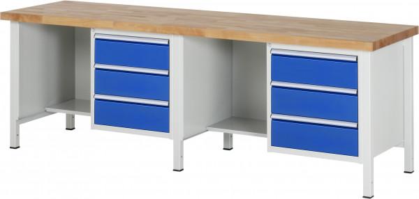 Werkbank B 2500 x T 700 x H 840 mm mit 6 Schubladen und 2 Fächern