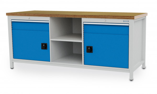 Kastenwerkbank B 2000 x T 750 x H 959 mm, 2 Schubladen, 2 Türen und 2 Fächer