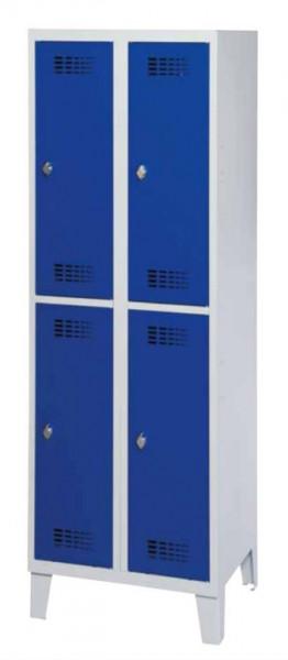 Garderobenschrank mit 4 x 2 Abteilen und Stahlblechfüßen H 1850 x B 1200 x T 500 mm