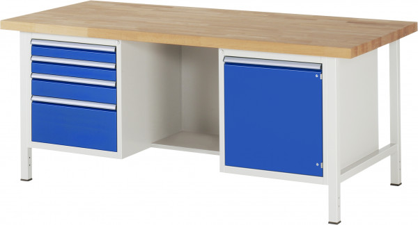 Werkbank B 2000 x T 900 x H 840 mm 4 Schubladen, Tür und Fach
