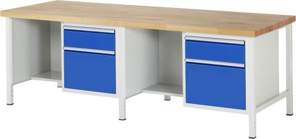 RAU Werkbank B 2500 x T 900 x H 840 mm mit 4 Schubladen und 2 Fächern