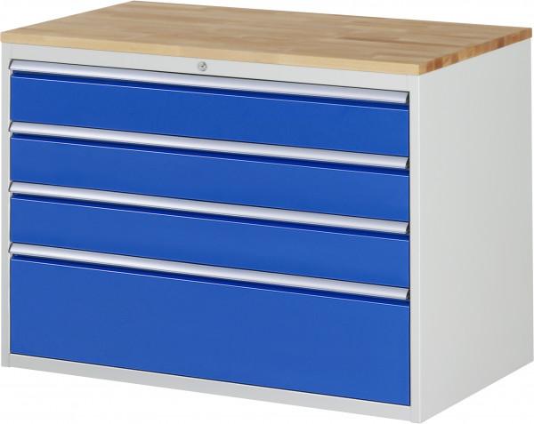 Schubladenschrank mit 4 Schubladen und Buche-Top B 1145 x T 650 x H 825 mm