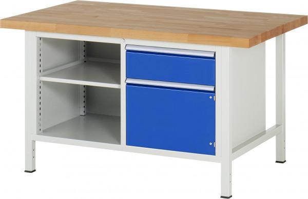 Werkbank B 1500 x T 900 x H 840 mm mit 1 Schublade, Flügeltür H 360 mm, Fachboden