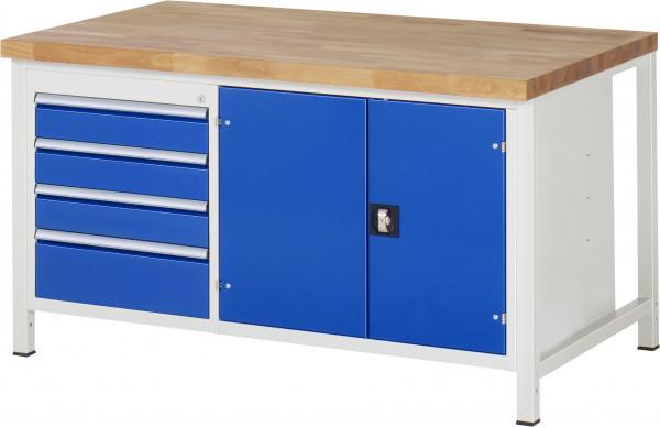 Werkbank B 1500 x T 900 x H 840 mm mit Werkzeugfach und 4 Schubladen