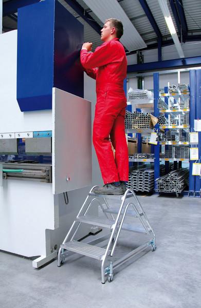 Alu-Arbeitspodest beidseitig begehbar, 2 x 3 Stufen Aluminium geriffelt