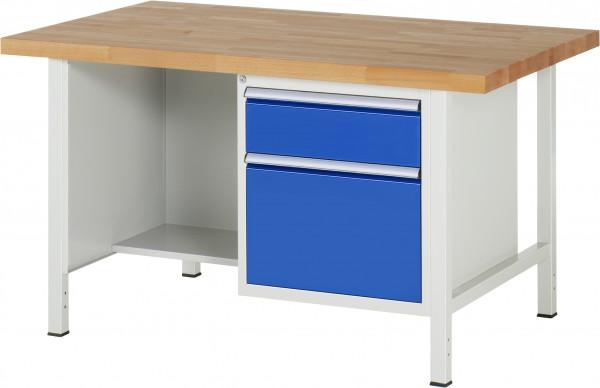 Werkbank B 1500 x T 900 x H 840 mm mit 2 Schubladen Größe L
