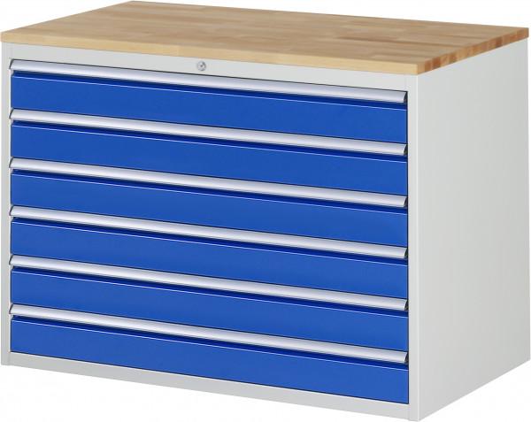Schubladenschrank mit 6 Schubladen XXL und Buche-Top B 1145 x T 650 x H 825 mm