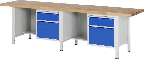 RAU Werkbank B 3000 x T 700 x H 840 mm mit 4 Schubladen und 2 Fächern