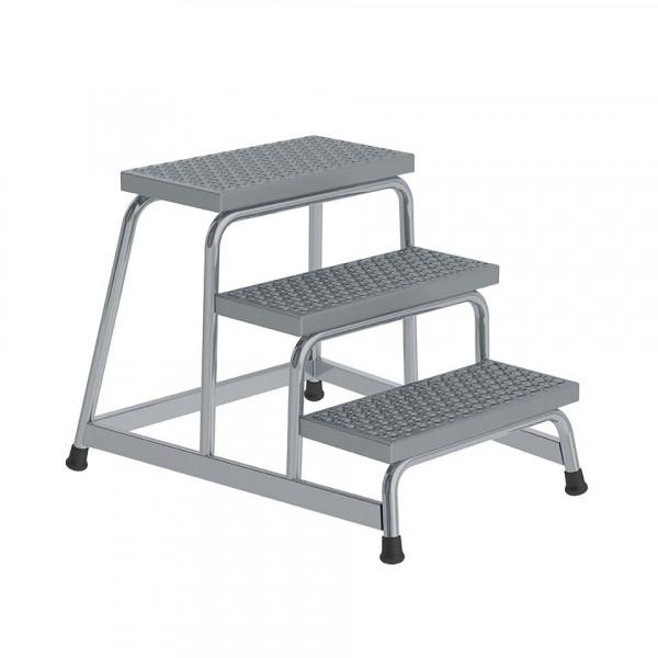 Aluminium-Arbeitspodest R13 Rutschhemmung, starr mit 3 Stufen