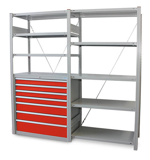 Fachbodenregal Grundregal verzinkt mit 3 Fachböden H 2000 x  B 1000 x T 500 mm