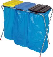 Abfallsammler 3-fach für 70 - 120 Liter Säcke Deckel gelb/blau/schwarz