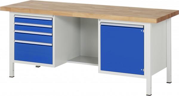 Werkbank 2000 mm  4 Schubladen, Tür und Fach B 2000 x T 700 x H 840 mm