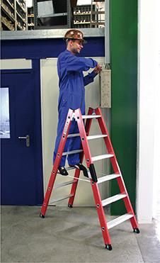 Kunststoff-Stehleiter beidseitig begehbar, 2 x 10 Stufen