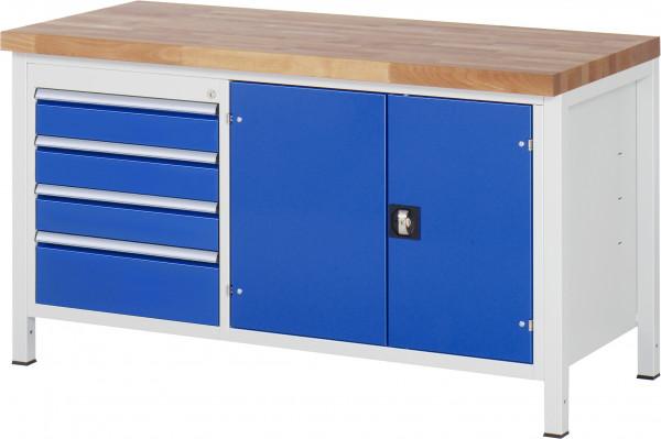 Werkbank B 1500 x T 700 x H 840 mm mit 4 Schubladen und Werkzeugfach
