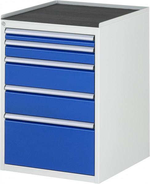 Schubladenschrank mit 5 Schubladen Größe L und Metall-Top B 580 x T 650 x H 825 mm