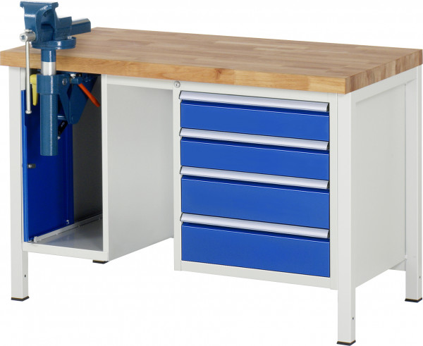Werkbank Serie 8000 B 1250 x T 700 x H 840 mm inkl. Schraubstock